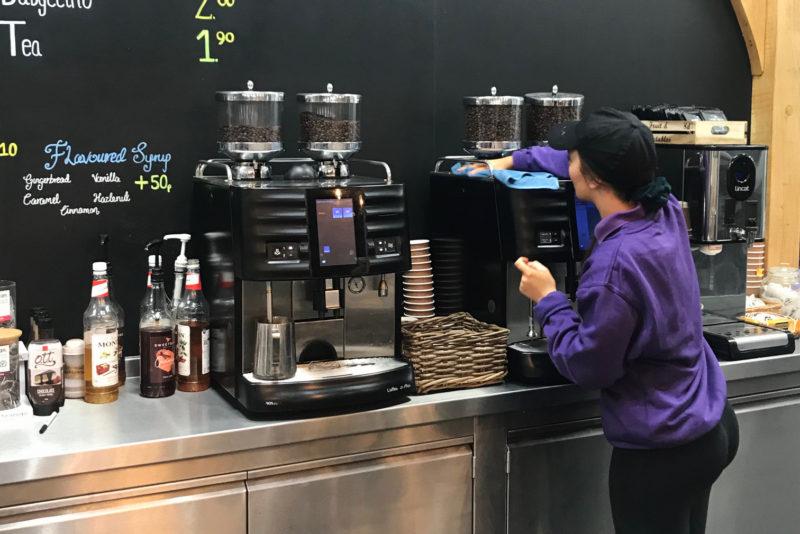 Barista Cleaning Schaerer Bean to Cup Machine